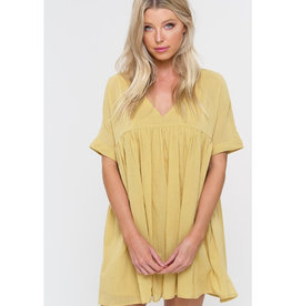 Better Views Baby Doll Short Sleeve Tunic - Mustard