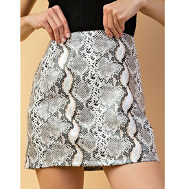 The Best Of Me Snake Print Skirt - Grey