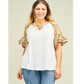 Sucker For You Animal Print Waffle Knit Top - Grey