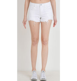 Happens All The Time Destroyed Mid-rise Shorts - White
