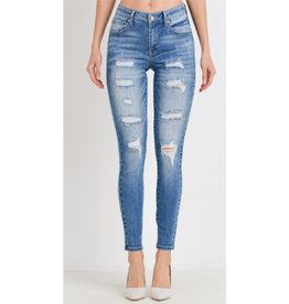 Ahead Of The Game Destroyed Skinny Jeans - Light Wash