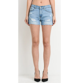 High Heavens Mid Rise Distressed Shorts - Light Wash
