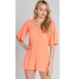 Entirely Conspired Wrapped Romper - Neon Coral