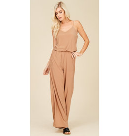The Time Is Now V-Neck Knit Jumpsuit - Mocha