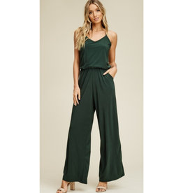 The Time Is Now V-Neck Knit Jumpsuit - Olive