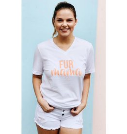 Fur Mama V-Neck Graphic Tee - White