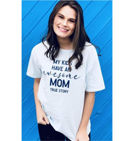 Awesome Mom Graphic Tee - Ice Blue