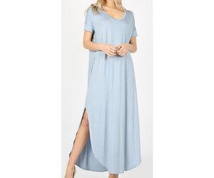 87652dc42a9 Zenana Be A Little Sweetie Maxi Dress- Ash Blue - Cheeky Bliss