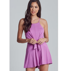 Only The Truth Waist Tie Cross Back Romper - Orchid