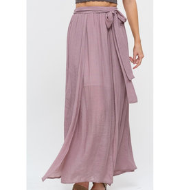 Flirting With Ease Layered Maxi Skirt - Mauve