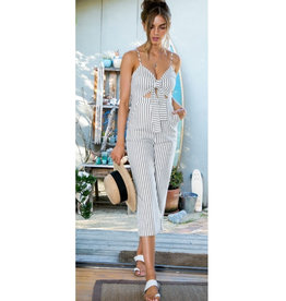 So Much Love Striped Front Tie Jumpsuit - White/Black