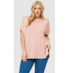 Arms Wide Open Piko Short Sleeve Top - Blush