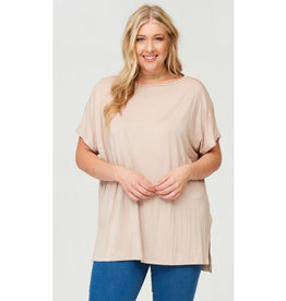 Arms Wide Open Piko Short Sleeve Top - Stone
