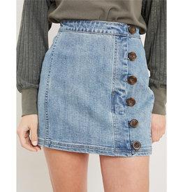 Shape Of My Heart Side Button Skirt - Denim