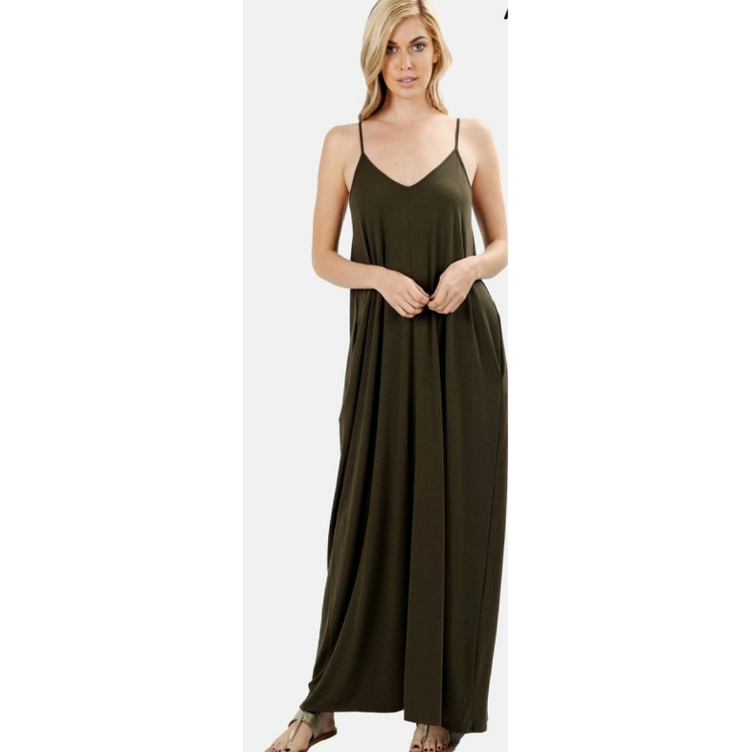 5437ba160ce2 A Lively Love Maxi Dress - DK Olive - Cheeky Bliss