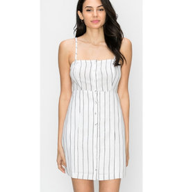 You Never Know Button Front Mini Dress - White