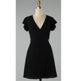 Blend Together Flutter Sleeve Wap Dress - Black
