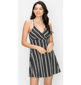On Topic Stripe Swing Dress - Black
