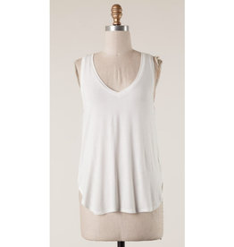 Hidden Heights Basic V-Neck Tank Top - Off White