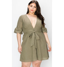 Hard To Get Deep V Button Down Dress - Olive