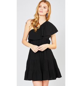 Running Late One Shoulder Ruffle Dress - Black