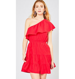 Running Late One Shoulder Ruffle Dress - Red