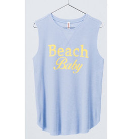 Beach Baby Waffle Knit Tank Top - Blue