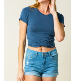 Easier Than Ever Front Twist Crop Top - Blue