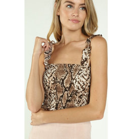 Not Your Average Snake Print Tube Top - Brown