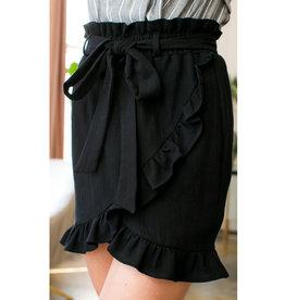 Day Time Fun Ruffle Wrap Mini Skirt - Black