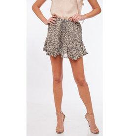 Spot On Leopard Print Ruffled Shorts - Off White