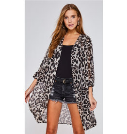All Too Perfect Leopard Print Kimono - Grey