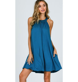 Hung Up On You Back Keyhole And Button Dress - Teal Blue