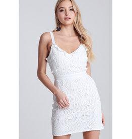 Through And Through Ruffled Crochet Mini Dress - Off White