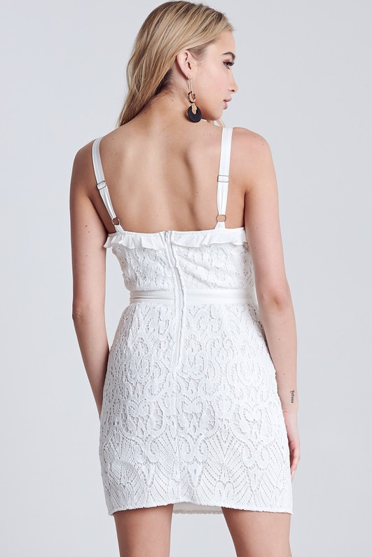 Through And Through Ruffled Crochet Mini Dress - Off White