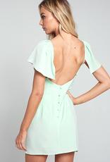 Better Half Ruffled V-Neck Mini Dress - Melon
