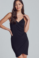 Knock Out Wrapped Bodycon Mini Dress - Black