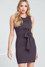 Beautiful Mind Waist Tie Midi Bodycon Dress - Black