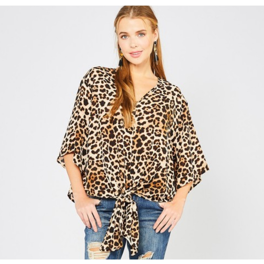 Sassier Than Ever Leopard Print V-Neck Top - Brown