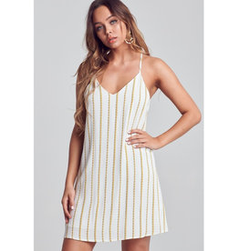 Leave The Light On Striped Pattern Low Back Mini Dress - Ivory
