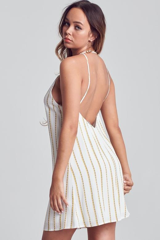 Leave The Light On Striped Pattern Low Back Mini Dress - Ivory