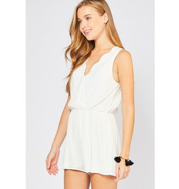 Perfect Match Surplice Romper - Ivory