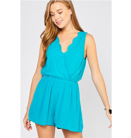 Perfect Match Surplice Romper - Jade
