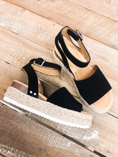 Head Turner Strappy Espadrilles - Black