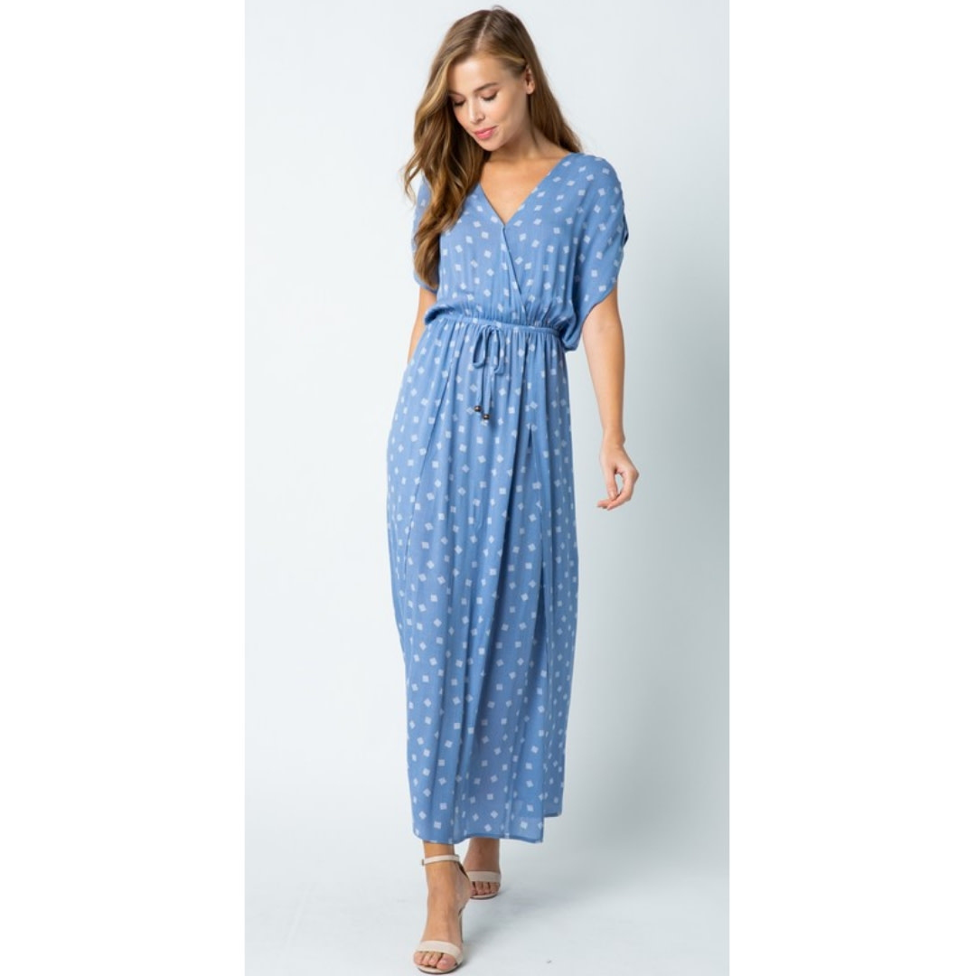 She's Got It All Printed Maxi Dress - Blue