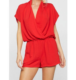 Living The Dream V-Neck Romper - Red Coral