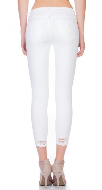 I Can Take You There Distressed Cropped Jeans - White
