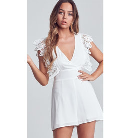 I'm Dreaming Crochet Sleeve Romper - Off White