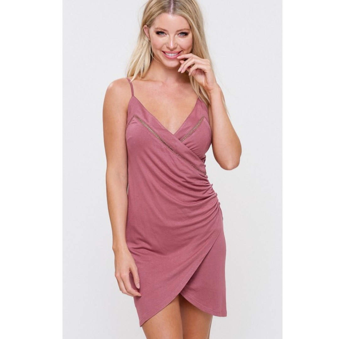 Remember You Young V-Neck Wrap Dress - Canyon Rose