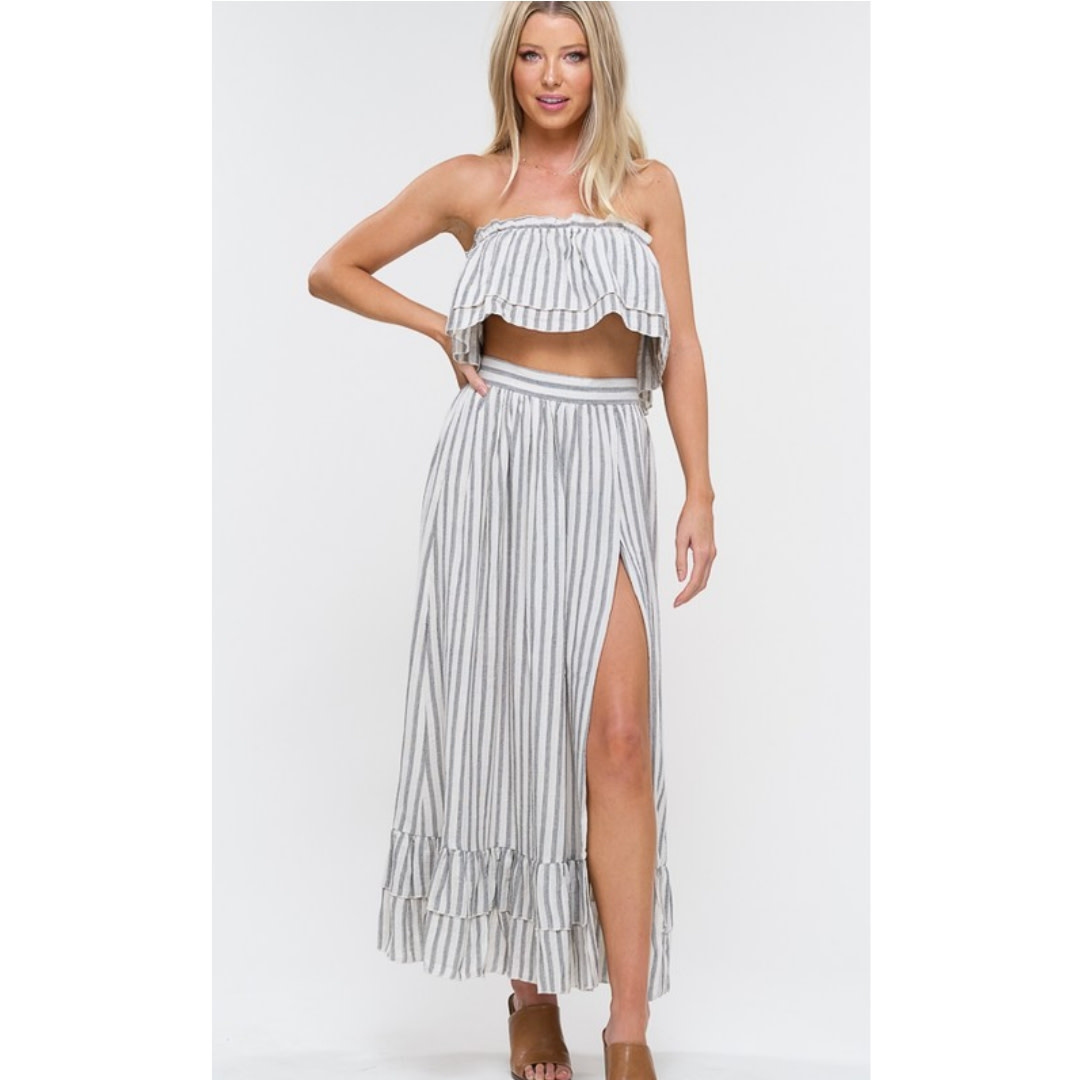 Balance Of Love Striped Top - Grey